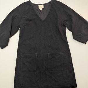 Maeve for Anthropologie Black V Neck Dress Pockets